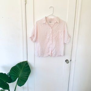 EUC Pink striped Madewell top, size L